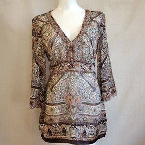 INC Macys Boho semi sheer SILK paisley blouse 8